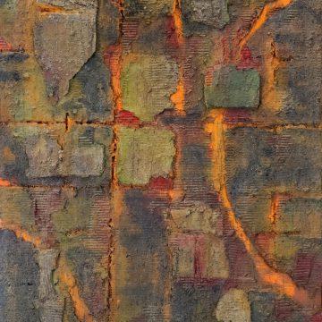 No. 12 / 08.2013 / Acryl, Steinmehl, Pigmente, Kohle, Asche und Pappe auf Leinwand / 140 x 100 cm