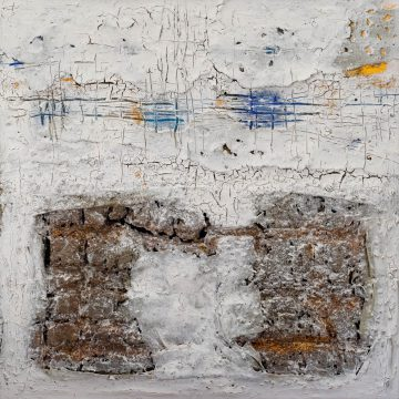 No. 46 / 05.2015 / Acryl, Kohle, Eisen, Steinmehl und Kork auf Leinwand / 100 x 100 cm
