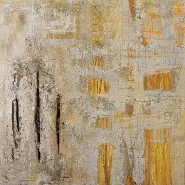 No. 29 / 06.2014 / Acryl, Steinmehl, Pigmente, Asche, Kohle, Eisen, Tongranulat und Polystyrolschaum auf Leinwand / 100 x 100 cm