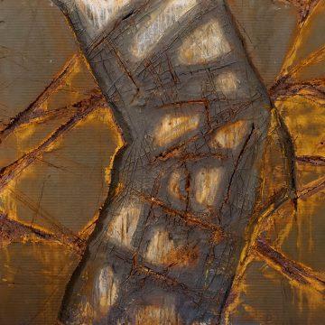 No. 30 / 11.2014 / Acryl, Steinmehl, Pigmente, Asche, Eisen, Jutegewebe und Polystyrolschaum auf Leinwand / 120 x 120 cm