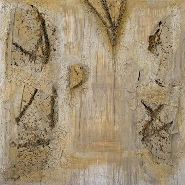No. 31 / 11.2014 / Acryl, Steinmehl, Pigmente, Asche und Polystyrolschaum auf Leinwand / 120 x 120 cm