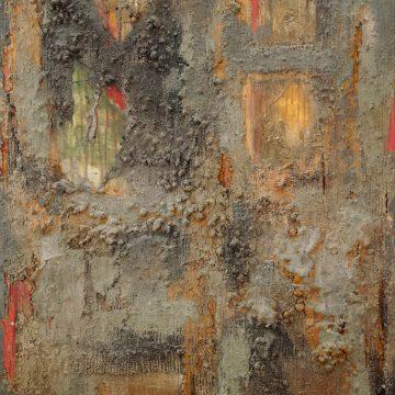 No. 21 / 04.2014 / Acryl, Steinmehl, Pigmente, Asche, Kohle, Eisen, Tongranulat und Pappe auf Leinwand / 120 x 100 cm