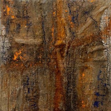 No. 36 / 03.2015 / Acryl, Steinmehl, Pigmente, Kohle, Asche, Eisen und Holz auf Leinwand / 70 x 70 cm