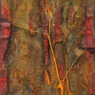 No. 3 / 10.2012 / Acryl, Pigmente, Holz, Zweige, Tongranulat und Pappe auf Leinwand / 90 x 60 cm