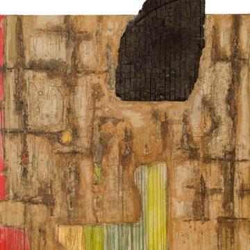 No. 11 / 06.2013 / Acryl, Steinmehl, Pigmente, Kohle, Asche, Pappe und verkohltes Holz auf Leinwand / 120 x 120 cm