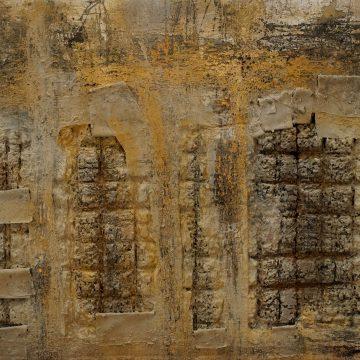 No. 50 / 08.2015 / Acryl, Steinmehl, Asche, Kohle, Eisen, Pigmente, Papier und Kork auf Leinwand / 143 x 200 cm