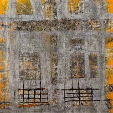 No. 44 / 05.2015 / Acryl, Pigmente, Kohle, Asche, Bitumen, Steinmehl und Polystyrolschaum auf Leinwand / 140 x 140 cm