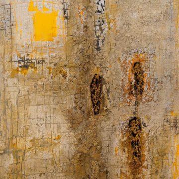 No. 32 / 12.2014 / Acryl, Steinmehl, Pigmente, Asche, Eisen, Holz, Tongranulat und Polystyrolschaum auf Leinwand / 120 x 100 cm