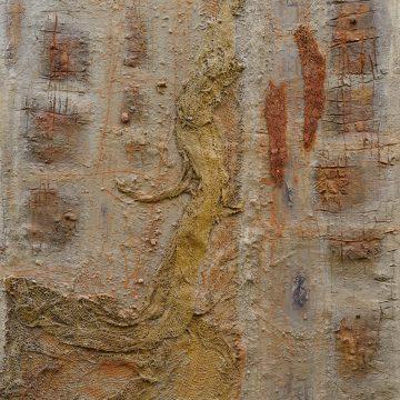 No. 27 / 06.2014 / Acryl, Steinmehl, Pigmente, Asche, Kohle, Eisen, Jutegewebe und Kaktusblattfragmente auf Leinwand / 120 x 100 cm