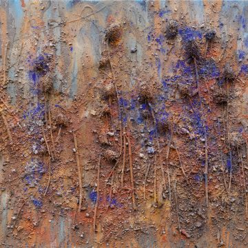 No. 5 / 11.2012 / Acryl, Pigmente, Asche, Kohle, Tongranulat und Disteln auf Leinwand / 70 x 100 cm