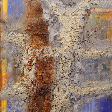 No. 17 / 12.2013 / Acryl, Steinmehl, Pigmente, Asche, Kohle, Holz, Pflanzenteile, Eisen und Pappe auf Leinwand / 160 x 120 cm