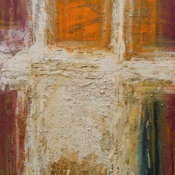 No. 13 / 09.2013 / Acryl, Steinmehl, Pigmente, Asche, Kohle, Pappe und Jutegewebe auf Leinwand / 120 x 100 cm