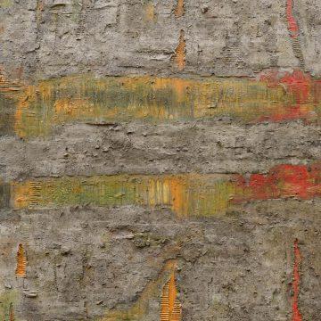 No. 20 / 04.2014 / Acryl, Steinmehl, Pigmente, Asche, Kohle, Holz, Tongranulat und Pappe auf Leinwand / 160 x 120 cm
