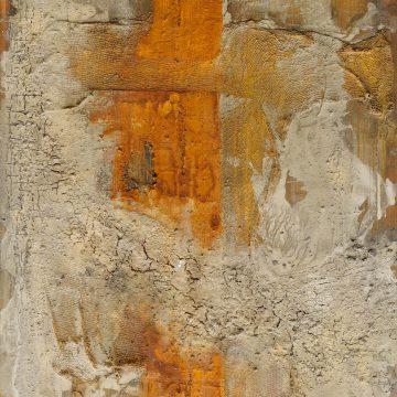 No. 16 / 11.2013 / Acryl, Steinmehl, Pigmente, Asche, Kohle, Pappe und Jutegewebe auf Leinwand / 200 x 130 cm