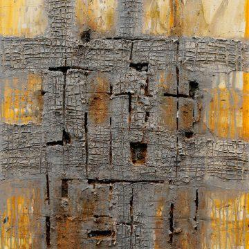 No. 41 / 04.2015 / Acryl, Steinmehl, Kohle, Eisen und Polystyrolschaum auf Leinwand / 100 x 80 cm