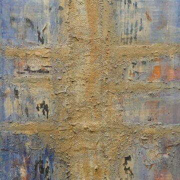 No. 14 / 09.2013 / Acryl, Steinmehl, Pigmente, Asche und Jutegewebe auf Leinwand / 140 x 100 cm