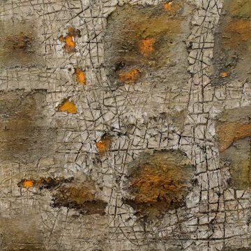 No. 40 / 04.2015 / Acryl, Steinmehl, Pigmente, Kohle, Asche, Holz und Pappe auf Leinwand / 100 x 70 cm
