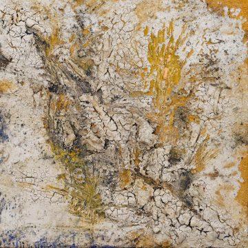 No. 19 / 04.2014 / Acryl, Steinmehl, Pigmente, Asche, Kohle, Tongranulat und Holz auf Leinwand / 70 x 70 cm