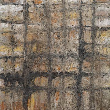 No. 49 / 08.2015 / Acryl, Steinmehl, Bitumen, Asche, Kohle, Pigmente und Jutegewebe auf Leinwand / 80 x 80 cm
