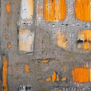 No. 25 / 06.2014 / Acryl, Steinmehl, Asche und Pappe auf Leinwand / 100 x 80 cm