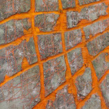 No. 10 / 04.2013 / Acryl, Pigmente, Kohle und Asche auf Holzdruckstock / 120 x 61 cm