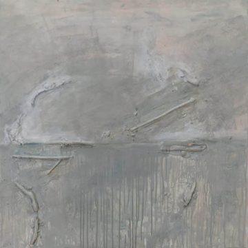 No. 1 / 05.2012 / Acryl, Holz, Stoff und Federn auf Leinwand / 100 x 300 cm