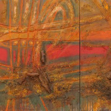 No. 8 / 12.2012 / Acryl, Pigmente, Kohle und Holz auf Leinwand und Holzdruckstock / 70 x 172 cm