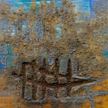 No. 45 / 05.2015 / Acryl, Pigmente, Kohle, Asche, Eisen, Tongranulat, Kork und Polystyrolschaum auf Leinwand / 140 x 140 cm