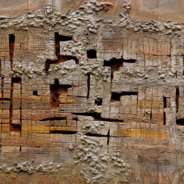 No. 35 / 02.2015 / Acryl, Steinmehl, Pigmente, Kohle, Asche, Eisen, Tongranulat, Polystyrolschaum und Papier auf Ulmer Malgrund / 100 x 210 cm