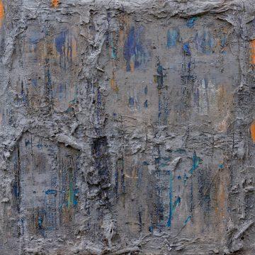 No. 37 / 03.2015 / Acryl, Steinmehl, Pigmente, Kohle, Asche, Holz und Papier auf Leinwand / 70 x 70 cm