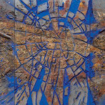 No. 9 / 03.2013 / Acryl, Pigmente, Asche, Holz und Pflanzenteile auf Leinwand und Holzdruckstock / 70 x 191 cm