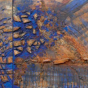 No. 7 / 12.2012 / Acryl, Pigmente, Holz, Asche und Kohle auf Leinwand und Holzdruckstock / 70 x 151 cm