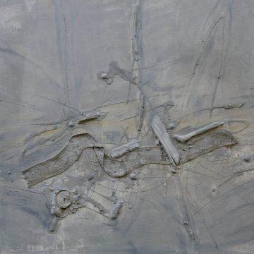 No. 2 / 09.2012 / Acryl, Asche, Holz, Metall, Muscheln und Jutegewebe auf Leinwand / 80 x 160 cm